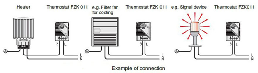 FZK 011 Mechanical Thermostat Cabinet Thermostat Enclosure Thermostat Connection & Drawing 1