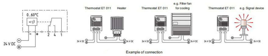 ET 011 Electronic Thermostat Cabinet Thermostat Enclosure Thermsotat Connection & Drawing 2